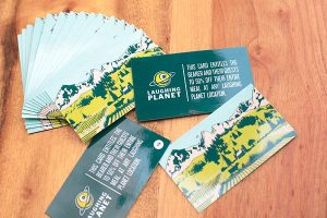 Business card example with stacked and fanned out