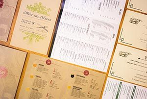 Menus laying across a table