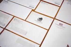 Custom printed envelopes with windows