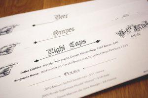 Up close shot of a printed menu